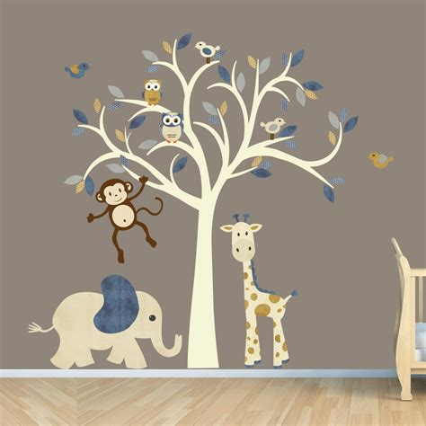 Boys Nursery Wall Decals Tree Decal Denim Color Boy Room Wall Decal Jungle