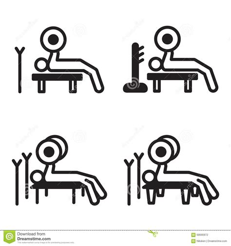 breathing bench press weightlifting bench press icon in four variations vector