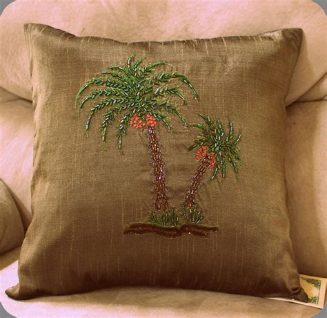 palm tree pillow palm tree pillow cover olive beaded decorator sofa