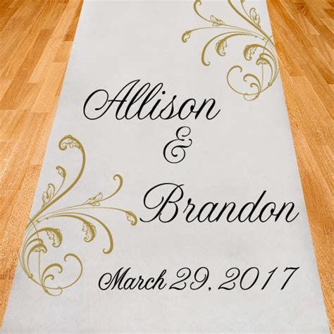 Wedding Aisle With Leaves by Swaying Leaves Personalized Wedding Aisle Runners Plain