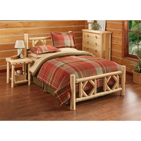 log bedroom set castlecreek diamond cedar log bed queen 297898 bedroom