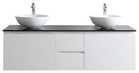 ferrara vanity with white vessel sink with glass