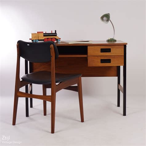 vintage small vintage teak desk in the style of pastoe