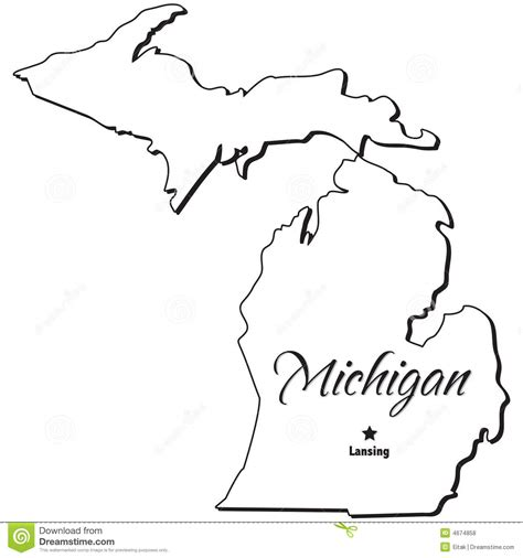 Outline Of Michigan State by Pink And Gray Elephant Clipart