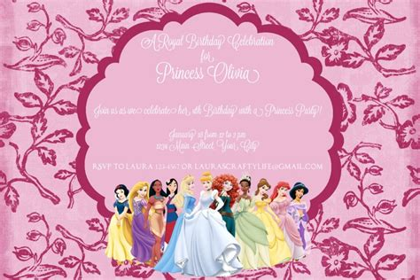 princess theme invitation template disney princess invitation s crafty