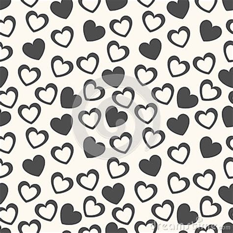 love shape pattern vector heart shape vector seamless pattern black and stock