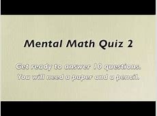 Mental Math Quiz 2 - Grades 2 and 3 Math - Numeracy Skills ... Maths Quiz Questions With Answers For Class 10
