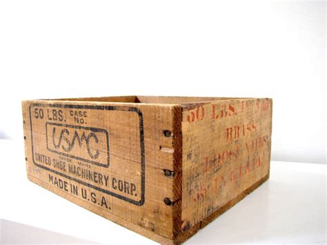 wooden shoe storage box united shoe machinery wood crate by frenchbydesign