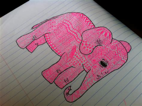 doodle draw weheartit pink elephant on