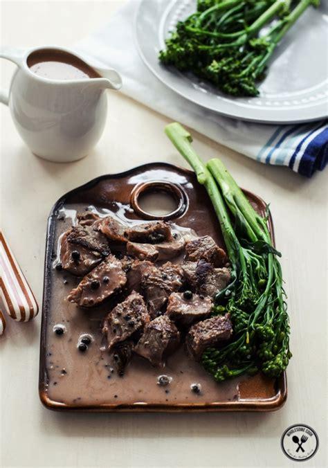 creamy peppercorn sauce  steak wholesome cook