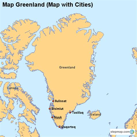greenland map with cities map greenland map with cities countrymap landkarte