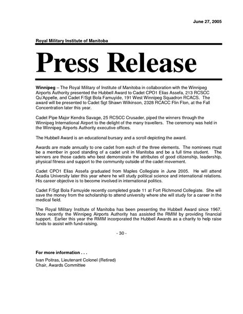 best press release template 7 best images of press release format exles sle