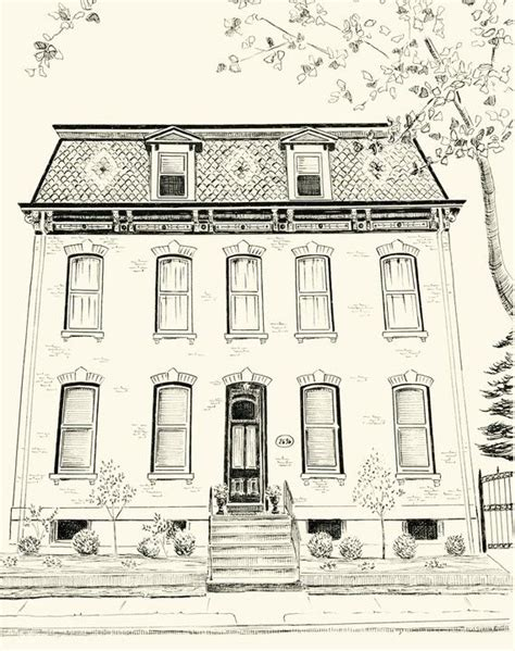 residential ink home design drafting custom pen and ink architectural drawing of your house or