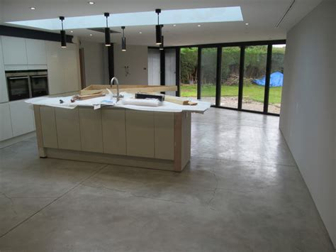 its an industrial looking polished concrete effect