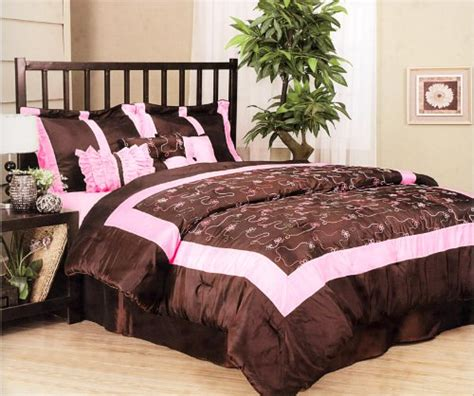 brown and pink comforter pink and black bedding queen bedroom ideas pictures