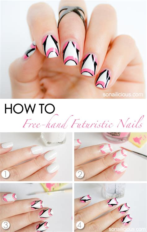 Nail Art White Tutorial   by johnny 2014 inspired futuristic pink and white nail