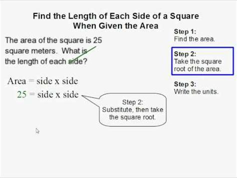calculate area how to find the length of each side of a square when given the area of a square