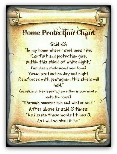 home protection chant spells home and home