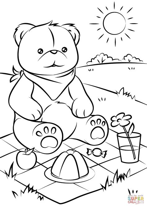 color sheets teddy bears picnic coloring page free printable