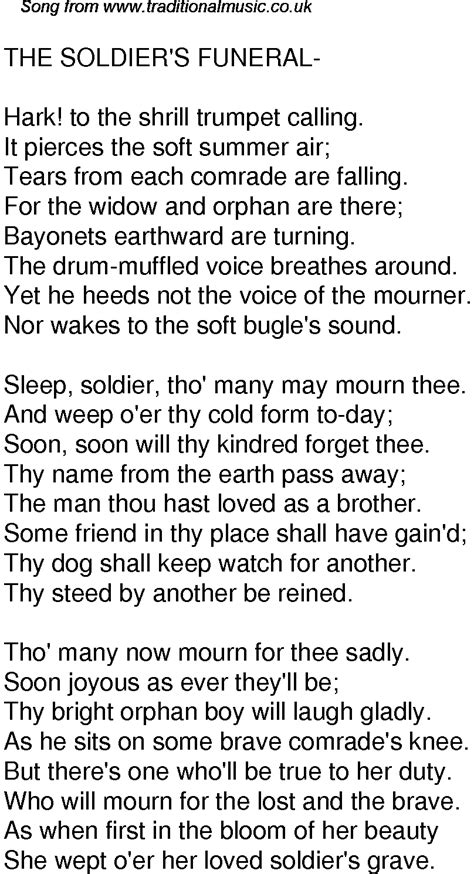 soldier song time song lyrics for 59 the soldiers funeral