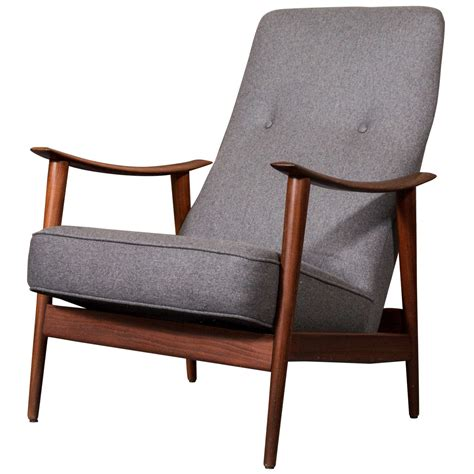 scandinavian armchair 1960 s scandinavian teak rocking lounge chair in gray wool