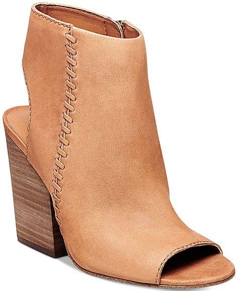 steve madden s mingle peep toe block heel booties in brown lyst