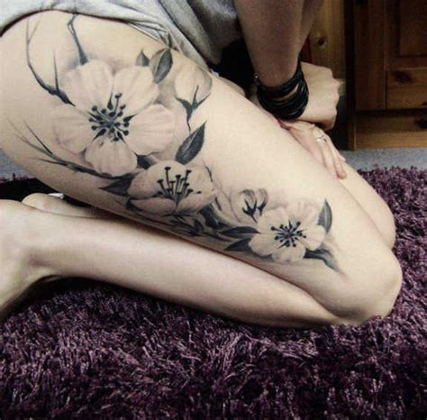 tattoo flowers on thigh 99 spicy thigh tattoos and designs for girls