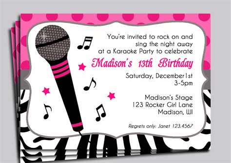 karaoke invitation printable sing by thatpartychick on etsy