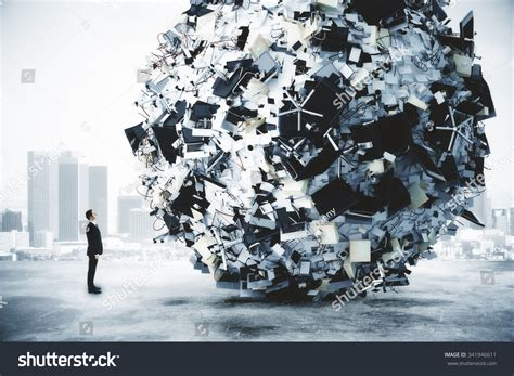businessman big heap office stuff city stock photo