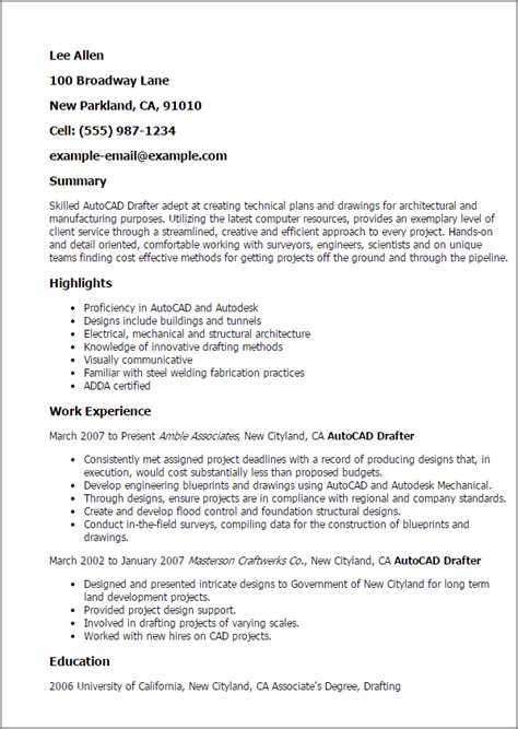 Draftsman Resume Sample by Professional Autocad Drafter Templates To Showcase Your
