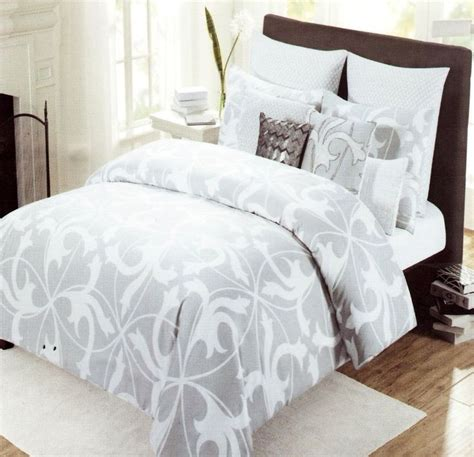 tahari home pc luxury cotton full queen duvet cover set gray white grey scroll tahari home