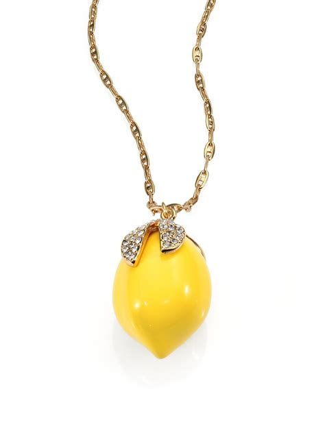 kate spade lemon tart pendant necklace in yellow