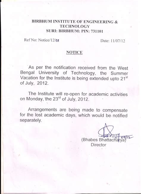 College Vacation Letter Biet Notice