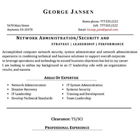 Networking Experience Resume Sles by Network Administrator Resume Exle 28 Images Network