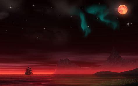 night pirate ship planets moon aurora borealis