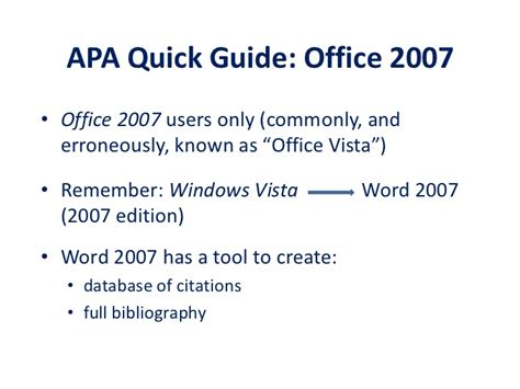 apa format quick reference guide quick guide apa style office 2007