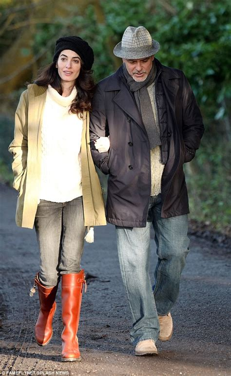 Amel Parka Maroon amal and george clooney spotted walking in berkshire 11 01