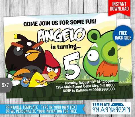 angry birds birthday invitation 4 by templatemansion on