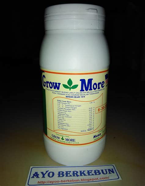 growmore botol 6 30 30 by hijauqu pupuk growmore 6 30 30 ayo berkebun