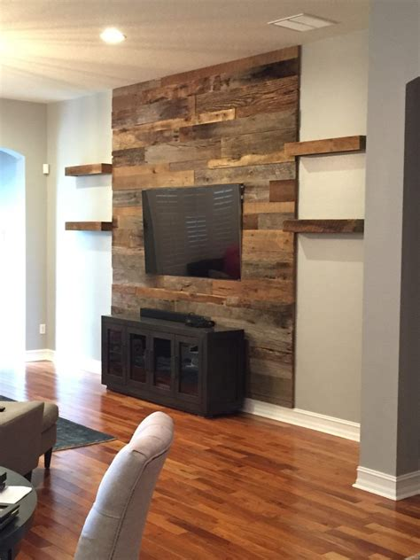 orlando barn wood accent wall  shelves accent walls