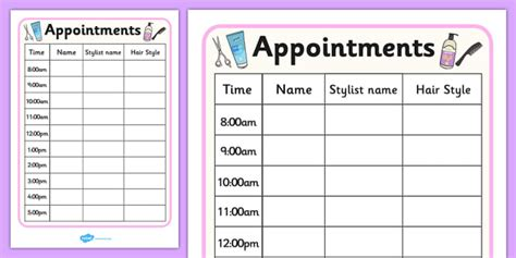 hairdressing appointment cards template hairdressers play appointment sheet hairdresser
