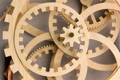 wooden gear clock plans  patterns dxf  woodworking