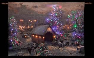 thomas kinkade winter woodland cottage illuminated hanging