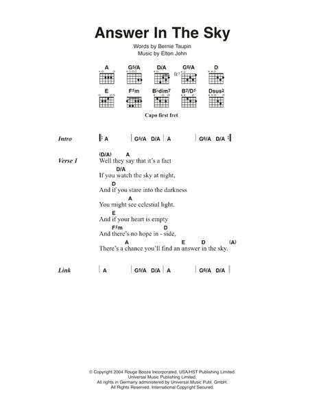 printable lyrics to dancing in the sky sheet music digital files to print licensed elton john