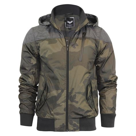 Hooded Camo Bomber Jacket mens hooded jacket brave soul felix camoflauge summer