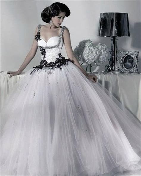 black princess wedding dresses black and white tulle gown wedding dresses straps