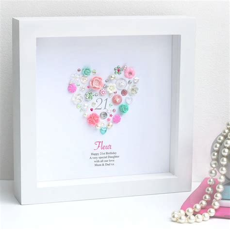 personalised 21st birthday button framed gift by sweet