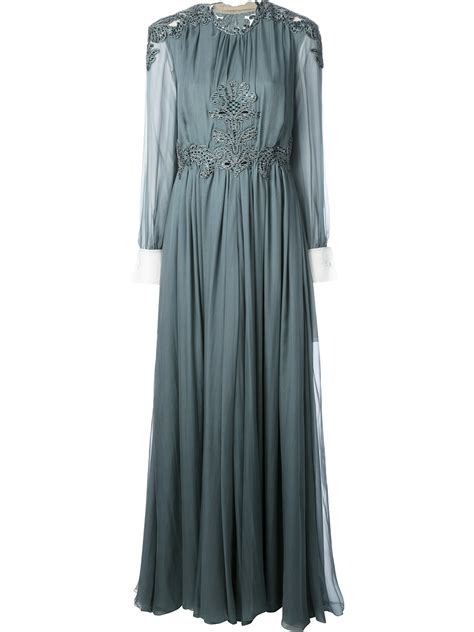 Valentino Maxy lyst valentino embellished maxi dress in gray