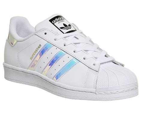 womens adidas superstar white metallic silver white trainers shoes ebay