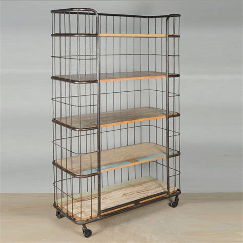 Industrial Bakers Rack by Industrial Wood Iron Rolling Storage Book Shelves